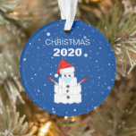 """Funny Toilet Roll Snowman 2020 Christmas Tree Ornament<br><div class=""""desc"""">2020 has been quite a year! This will be a christmas like no other, spread some laughter with a fun corona virus christmas tree ornament. Featuring the text 'Christmas, 2020'. A cute snowman made out of a tower of toilet rolls, wearing a face mask, a santa hat, thermometers for arms...</div>"""