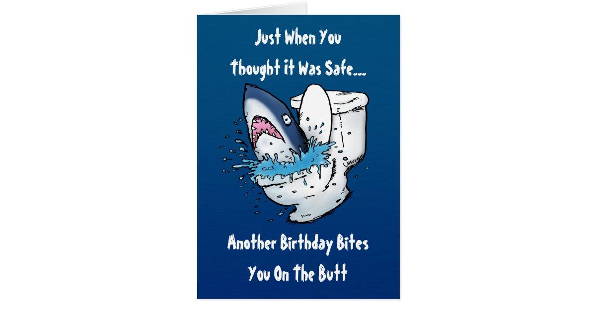 funny toilet shark birthday card  zazzle, Birthday card