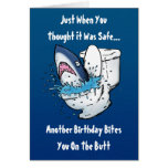 Funny Toilet Shark Birthday Card Greeting Card