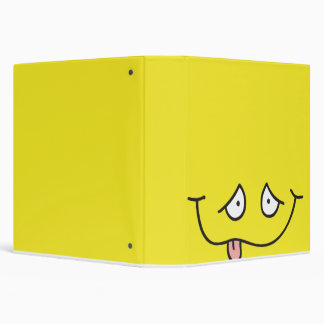 funny tongue out face yellow notebook 3 ring binder