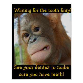 Funny Tooth Fairy Children's Dentist Poster