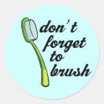 Funny Toothbrush Dentist Sticker Round Sticker