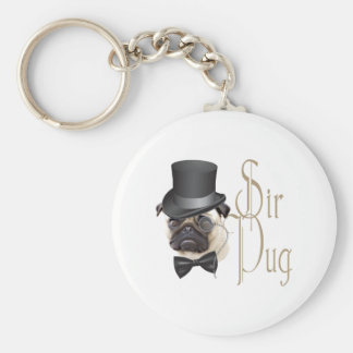 Funny Top Hat Monocle Sir Pug Dog Basic Round Button Keychain