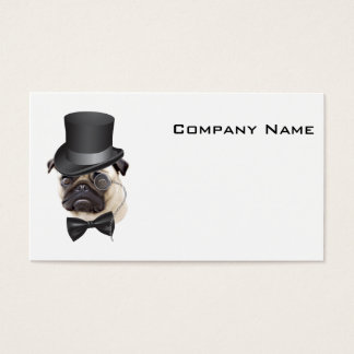 Funny Top Hat Monocle Sir Pug Dog Business Card