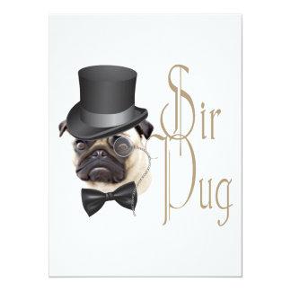 Funny Top Hat Monocle Sir Pug Dog Card