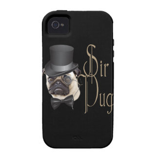 Funny Top Hat Monocle Sir Pug Dog iPhone 4/4S Case