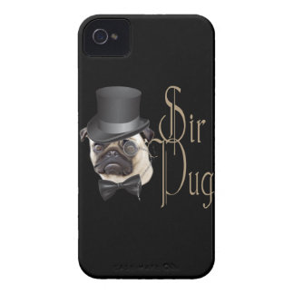 Funny Top Hat Monocle Sir Pug Dog iPhone 4 Covers