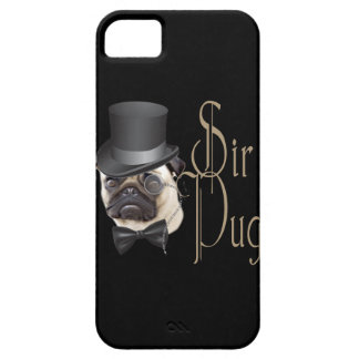 Funny Top Hat Monocle Sir Pug Dog iPhone 5 Case