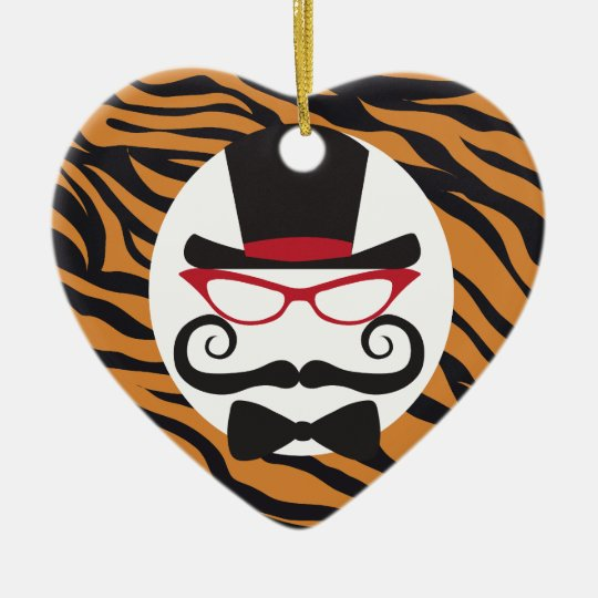 Funny Top Hat Mustache and Bow Tie Tiger Stripes Ceramic Ornament