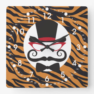Funny Top Hat Mustache and Bow Tie Tiger Stripes Wall Clocks