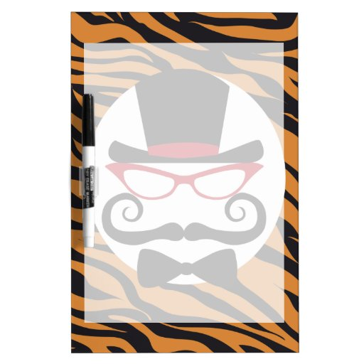 Funny Top Hat Mustache and Bow Tie Tiger Stripes Dry-Erase Whiteboards