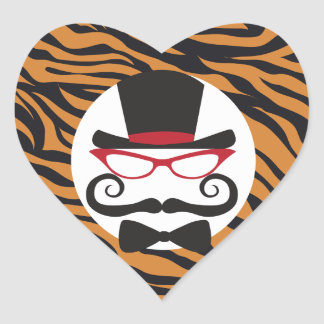 Funny Top Hat Mustache and Bow Tie Tiger Stripes Heart Sticker