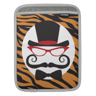 Funny Top Hat Mustache and Bow Tie Tiger Stripes iPad Sleeves