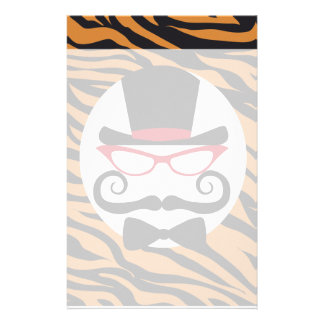 Funny Top Hat Mustache and Bow Tie Tiger Stripes Stationery