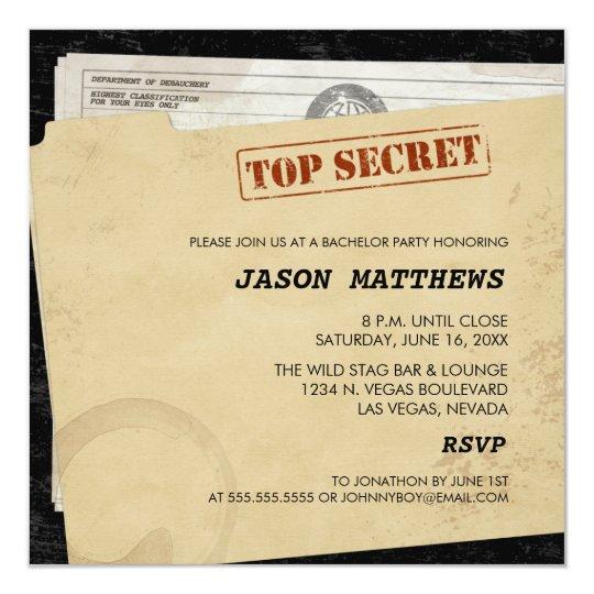 Funny Top Secret Bachelor Party Invitations Zazzlecom