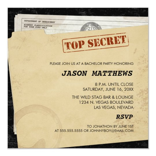 Funny Top Secret Bachelor Party Invitations Zazzle Com
