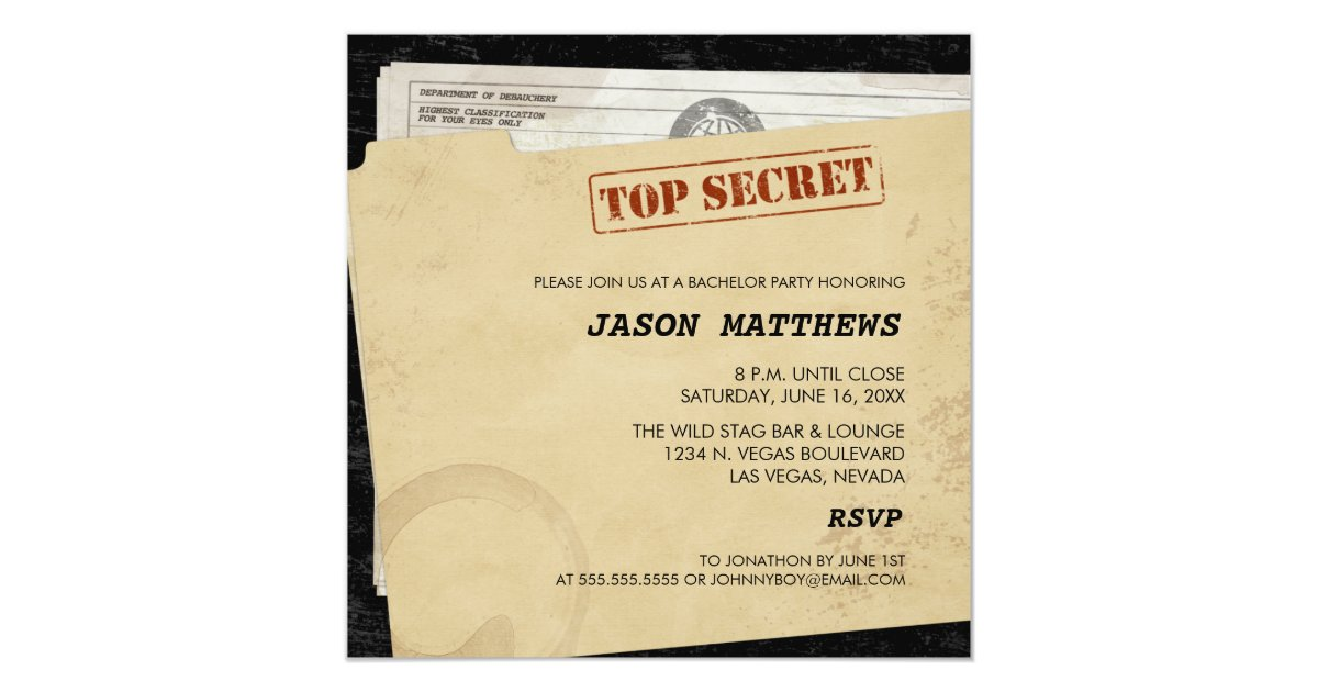 Funny Top Secret Bachelor Party Invitations | Zazzle.com