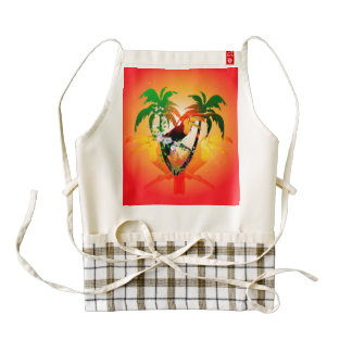 Funny toucan sitting on a branch zazzle HEART apron
