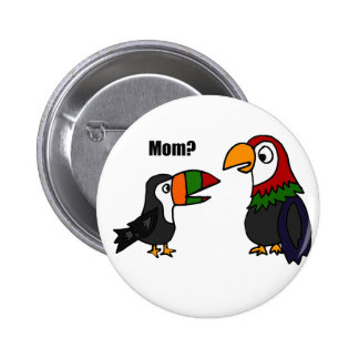 Funny Toucan Talking to Parrot Cartoon Button