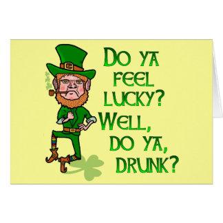 Funny Tough Lucky Drunk Leprechaun Card