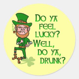 Funny Tough Lucky Drunk Leprechaun Classic Round Sticker