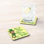 Funny Tough Lucky Drunk Leprechaun Drink Coaster