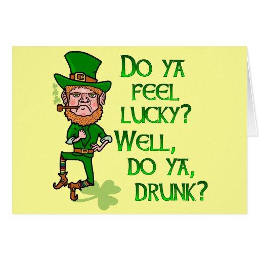 Funny Tough Lucky Drunk Leprechaun Greeting Card