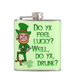 Funny Tough Lucky Drunk Leprechaun Hip Flasks