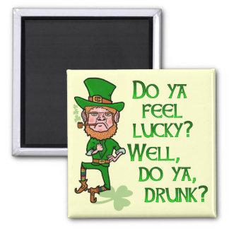 Funny Tough Lucky Drunk Leprechaun Magnet