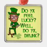 Funny Tough Lucky Drunk Leprechaun Square Metal Christmas Ornament