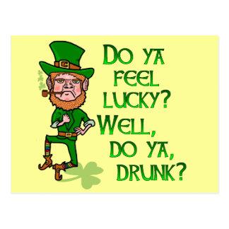 Funny Tough Lucky Drunk Leprechaun Postcard