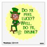 Funny Tough Lucky Drunk Leprechaun Wall Decal