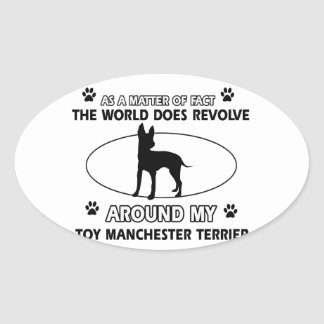 Funny toy manchester terrier designs oval sticker