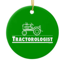 Funny Tractor Ceramic Ornament