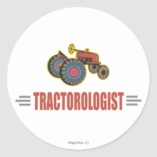 Funny Tractor Classic Round Sticker