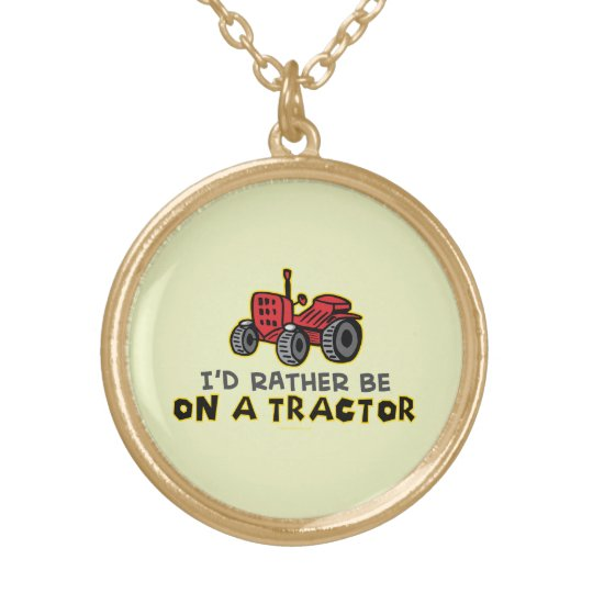 Funny Tractor Gold Plated Necklace