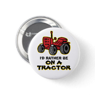 Funny Tractor Humorous Old Red Jalopy Button