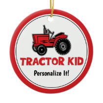 Funny Tractor Kid Red Holiday Personalize Ceramic Ornament