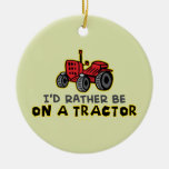 Funny Tractor Double-Sided Ceramic Round Christmas Ornament
