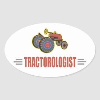 Funny Tractor Oval Sticker