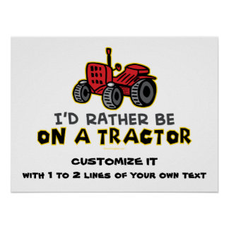 Funny Tractor Poster