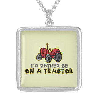 Funny Tractor Silver Plated Necklace
