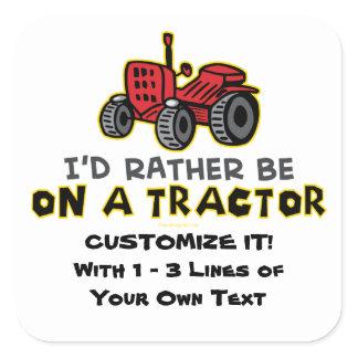 Funny Tractor Square Sticker