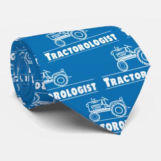 Funny Tractor Tractorologist Men's Humorous Blue Neck Tie