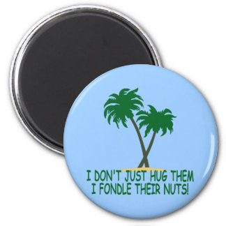 Funny tree hugger 2 inch round magnet