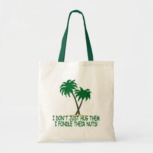 Funny tree hugger canvas bags