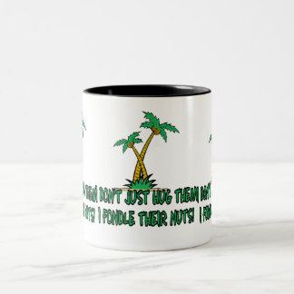 Funny tree hugger Two-Tone coffee mug