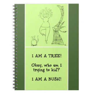 Funny Tree Pose Woman Note Books