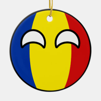 Funny Trending Geeky Romania Countryball Ceramic Ornament