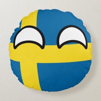 Funny Trending Geeky Sweden Countryball Round Pillow